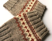 Hand Knitted Patterned Fair Isle Boot Cuffs - Boot Toppers, Leg Warmers - 100% Natural Wool