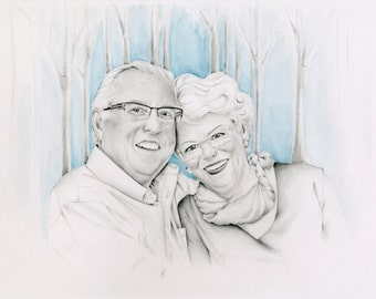 Custom Couples Portrait Gift for Couples Anniversary or Wedding Hand Drawn Pencil Portrait from your Photograph Golden Anniversary Gift Art