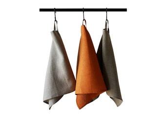 Tea towel set, Linen towels, Linen hand towel set, Linen kitchen towels with two loops, Linen towel, Natural towels