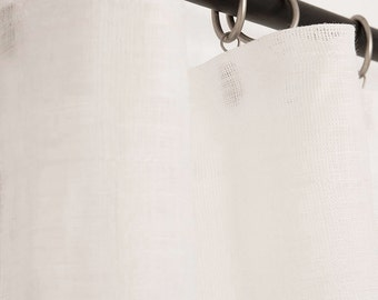 Sheer linen curtains White curtain panels Drapery tape top window treatments in off white, light grey, white lightweight pure linen
