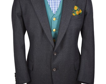 Barneys New York 44 Short Charcoal Gray Exceptional High Quality Wool Sport Coat