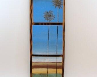 painting on wood three panel palm trees