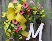 Spring / Summer Wreath , Spring Wreath,  Wreath for Spring, Wreath with Monogram, Wreath wit Yellow and Pink, Housewarming Gift, Etsy Wreath