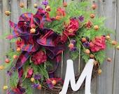 Front Door Spring Wreath ,Summer Wreath,  Wreath for Spring, Wreath with Monogram, Wreath with Pink and Purple, Designer Etsy Wreath