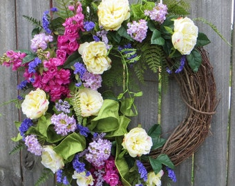 Spring Wreath, Spring/Summer Wreath, Full Spring Wreath, Summer Wreath, Rose Garden Wreath, Spring Door Wreath, Luxurious Spring Wreath