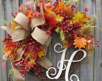 Fall Wreath, Fall Burlap Wreath, Autumn Wreath, Fall Wreaths, Monogram Decor, Door Wreath, Holidays, Berries, Monogram Wreaths