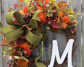Fall Initial Wreath, Fall Front Door Decor , Wreath with Initial, Monogram, Personalized Wreath, Rich Fall Colors, Fall Green, Fall Burlap