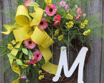 Spring / Summer Wreath , Spring Wreath,  Wreath for Spring, Wreath with Monogram, Wreath wit Yellow and Pink, Housewarming Gift, Etsy Wreath