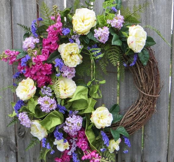 Spring Wreath, Spring/Summer Wreath, Full Spring Wreath, Summer Wreath, Rose Garden Wreath, Spring Door Wreath, Luxurious Spring Wreath