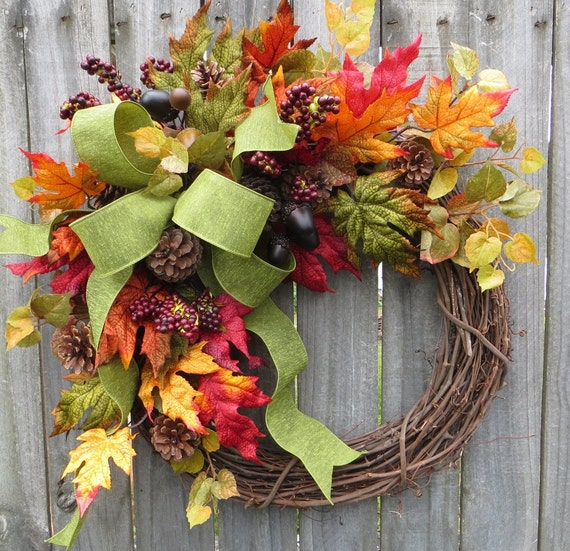 Horn 39 s handmade front door wreaths fall wreaths tree topper bows - Fall natural decor ideas rich colors ...