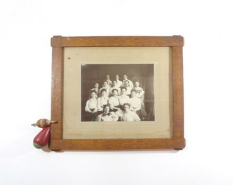 Vintage Women's Group Photo in Frame / 1910s Framed Black and White Photograph / Vintage Wall Decor