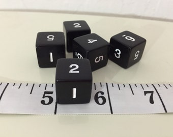 Set Of Five Numbered Black Vintage Bakelite Dice