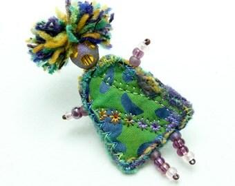 Mixed Media Jewelry Fiber Brooch Aqua Turquoise Girlfriend