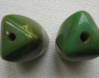 Vintage Bakelite Carved Beads Creamed Spinach 22x16mm QTY - 2