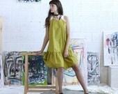 Lime Peplum Hem Dress, Lime Tank Dress