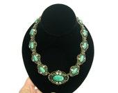 Art Nouveau Necklace. Bohemian Dragons Egg Green Glass & Enamel. Antique 1900s Belle Epoque Jewelry. Art Glass Statement Necklace.