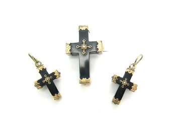 Victorian Jet Cross Brooch Earrings Set. Whitby Jet, Pearls, Engraved Gold Fill. Grand Period 1860s to 1880s. Antique 1800s Mourning Jewelry