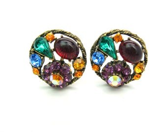 Weiss Earrings. Rhinestone Jewelry. Multi Color Jewel Tones. Ruby Red Cabochon. Clip On. Older Mark. Vintage 1950s Jewelry.