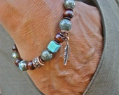 Men's Protection, Luck Tribal Bracelet with Semi Precious Peacock Ore, Turquoise, Mala Wood, Copper Feather Charm - Native American Bracelet