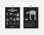 2016 Calendar Star Wars Vehicles Dark Version, Starships Calendar, Christmas Gift, Children Room Decor, New Year Gift 4 x 6 or 5x7
