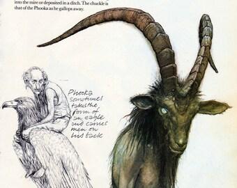 Brian Froud fairy print - vintage book page - fantasy illustration - goat headed man - Phooka - Faeries 1979