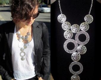 Statement bib necklace, modern geometric silver tone necklace