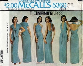 1970s The Infinite Dress Pattern McCall's 5360 Multi Style Wrap & Tie Sundress for Stretch Knits Vintage Sewing Pattern One Size