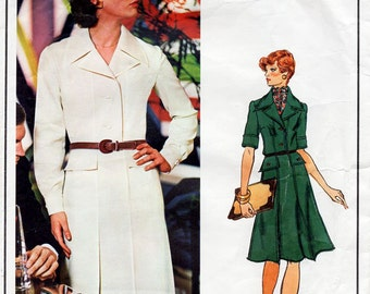 1970s Nina Ricci Dress Pattern Vogue Paris Original 1086 Vintage Sewing Pattern Flared Shirtwaist Dress Bust 36 FF Unused