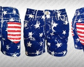 USA Shorts,Custom Hand Painted USA Flag Shorts,Fourth Of July Apparel,Patriotic Clothes,American Flag Clothing,American Flag Shorts
