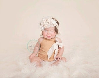 Baby girl romper- bubble romper- baby romper- Linen- cake smash outfit- girl romper outfit- khaki outfit- toddler romper- infant romper