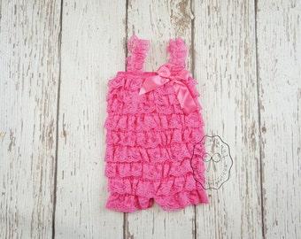 pink petti lace romper- baby girl lace romper- petti romper- baby romper- girls romper- pink romper- lace romper- ruffle romper- toddler