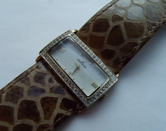 Ladies Wide Watch Animal Print Band Clear Crystals