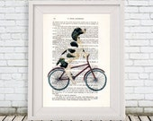 English Springer Print, Poster Illustration Acrylic Painting Animal Portrait  Decor Wall Hanging Wall Art Drawing, Dog on Bicycle