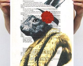 Bunny Illustration Rabbit Poster, Size11x16 by Coco de Paris, elegant rabbit, bunny print, acrylic painting, rabbit drawing: Mister Rabbit