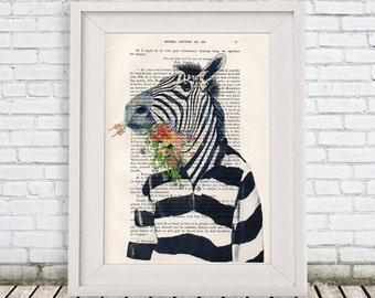 African zebra Print, zebra, Flower Print, Christmas gift, Zebra Artwork, Wall Art Prints, Zebra Room decor, Pink Zebra, Black and White