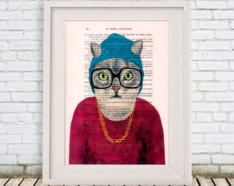 Cat Digital Print Poster Drawing Illustration Giclee Mixed Media Art Acrylic Painting Holiday Coco de Paris Decor Gifts: Rapper Cat
