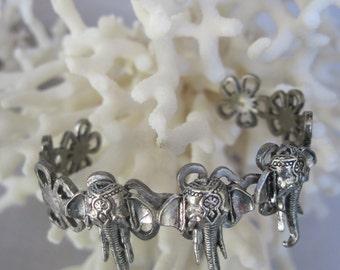 Antique Silver Bracelet with Three Elephant Heads Cuff Bracelet