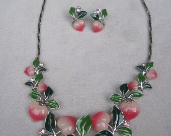 Adorable Soft Pink Peaches with Green Leaves Necklace Set