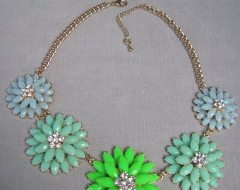 Soft Shades of Mint Green Bountiful Spring Flower Necklace