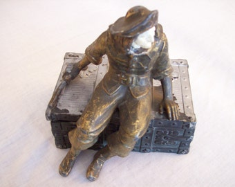 Hirsch Vintage Art deco Pirate on a Chest bookend Zinc 1932