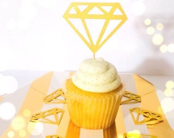 20 GOLD diamond jewel engagement cupcake topper food pick for bachelorette bridal shower or engagement party