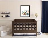 Christian Art Print, He's Got the Whole World in His Hands, Nursery Kids Wall Art Room Decor
