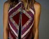 Hand Made Vintage Vest XS S Quilted Reversible Waistcoat Velvet Patchwork Maroon Boho Hippie Gypsy Club Kid Grunge 60s 70s Mod Art Festival