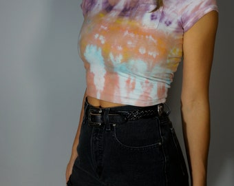 Hand Made Crop Top XS S Psychedelic Tie Dye Tee Vintage Pocket T Shirt Boho Hippie Gypsy Club Kid Acid Grunge Pastel 90s Hipster Festival