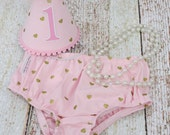 Girls First Birthday Cake Smash Outfit With Diaper Cover Party Hat & Necklace in Pink and Metallic Gold Hearts