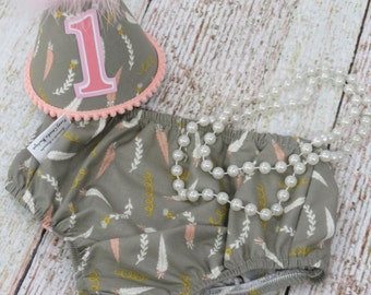 Girls First Birthday Cake Smash Outfit With Diaper Cover Party Hat & Necklace in Vintage Gray Peach White Feather Print