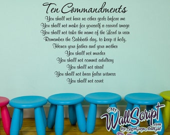 Ten Commandments Sunday School Wall Decal, Home Prayer Decal, Family Room Bible Decal