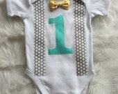 Baby Boy gentleman One piece singlet.First Birthday top.Number one.Aqua,yelow and Grey.Cake smash,photo shoot top.first birthday top.baby