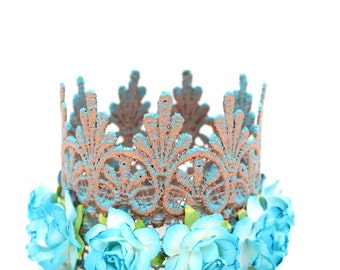 NEW    Tarnished Copper Tallulah with turquoise flowers    MINI lace crown headband