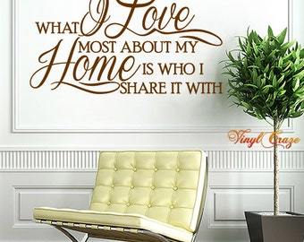 Vinyl Wall Decal Saying - What I Love most about my home